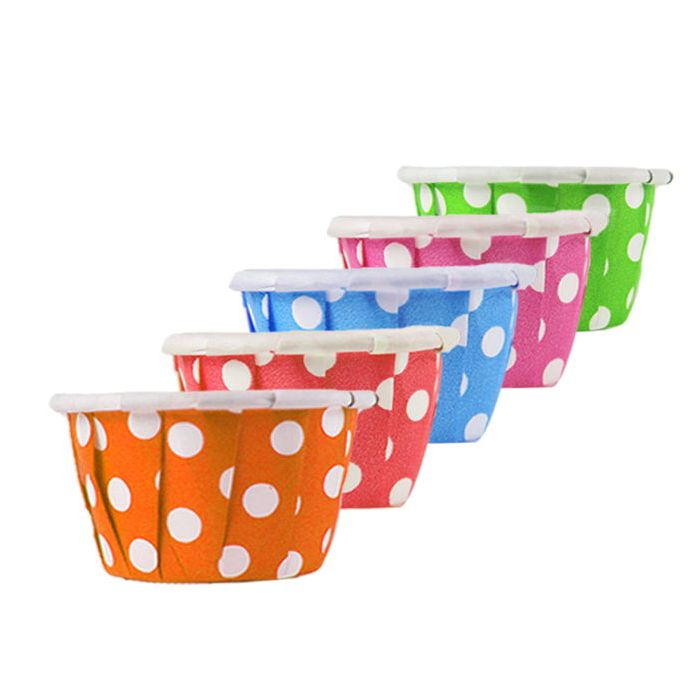 YC 0.5 oz Assorted Dotted Paper Souffle / Portion Cup (Blue/Green/Pink/Orange/Red) - 1 case (5000 piece) - CarryOut Supplies