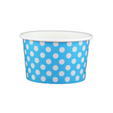 4 OZ. PAPER YOGURT CUPS, POLKA DOT BLUE - 1,000 PCS/CS - (Item: 20461)