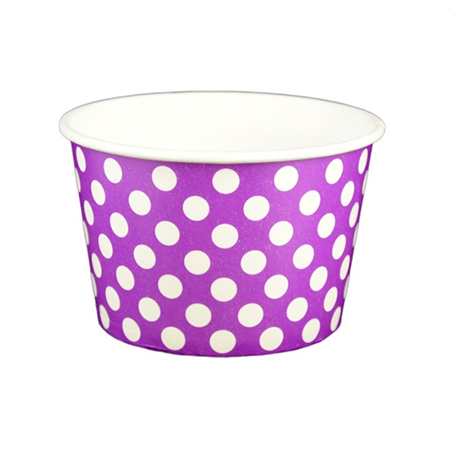 8 OZ. PAPER YOGURT CUPS, POLKA DOT PURPLE - 1,000 PCS/CS - (Item: 20866)