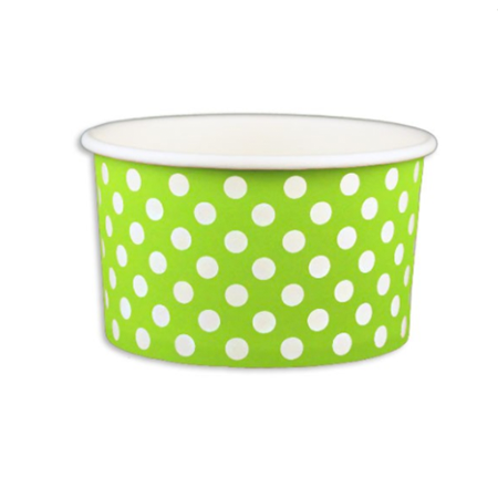 5 OZ. PAPER YOGURT CUPS, POLKA DOT LIME GREEN - 1,000 PCS/CS - (Item: 20562)