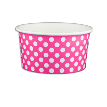 6 OZ. PAPER YOGURT CUPS, POLKA DOT PINK - 1,000 PCS/CS