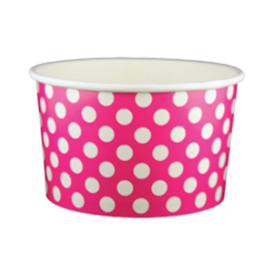 20 OZ. PAPER YOGURT CUPS, POLKA DOT PINK - 600 PCS/CS - (Item: 22064) - CarryOut Supplies
