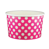 20 OZ. PAPER YOGURT CUPS, POLKA DOT PINK - 600 PCS/CS - (Item: 22064)