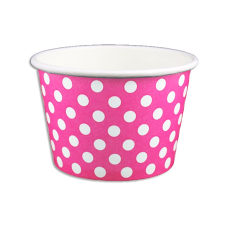 8 OZ. PAPER YOGURT CUPS, POLKA DOT PINK - 1,000 PCS/CS - (Item: 20864)