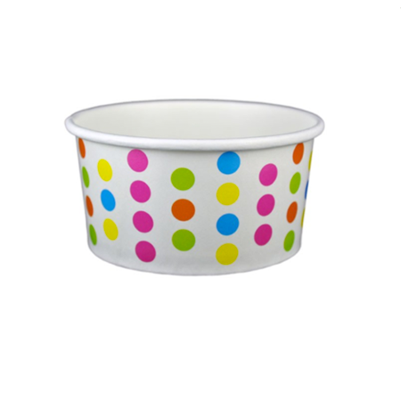 6 OZ. PAPER YOGURT CUPS, POLKA DOT RAINBOW - 1,000 PCS/CS