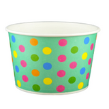 24 OZ. YOGURT PAPER CUPS POLKA DOT AQUA RAINBOW - 600 PCS/CS - (Item: 22468)