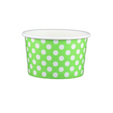4 OZ. PAPER YOGURT CUPS, POLKA DOT LIME GREEN - 1,000 PCS/CS - (Item: 20462)