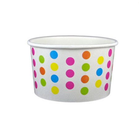 5 OZ. PAPER YOGURT CUPS, POLKA DOT RAINBOW - 1,000 PCS/CS - (Item: 20568)