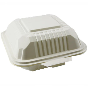 "BIODEGRADABLE SQUARE CONTAINER WITH HINGED LIDS 6""X6"", BEIGE - 500 PCS/CS - (item code: 5210) - CarryOut Supplies"