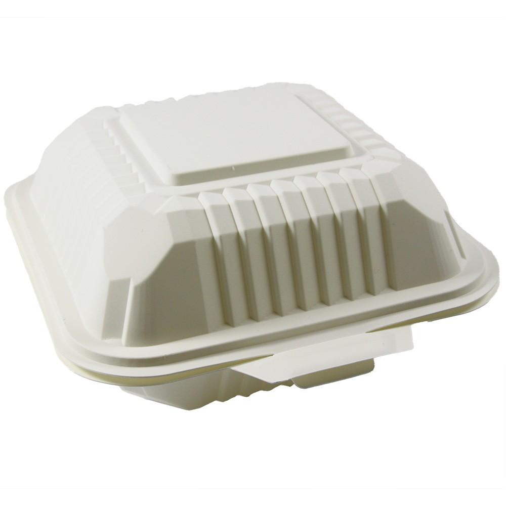 BIODEGRADABLE SQUARE CONTAINER WITH HINGED LIDS 6