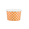 4 OZ. PAPER YOGURT CUPS, POLKA DOT ORANGE - 1,000 PCS/CS - (Item: 20463) - CarryOut Supplies