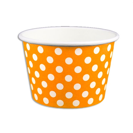 8 OZ. PAPER YOGURT CUPS, POLKA DOT ORANGE - 1,000 PCS/CS