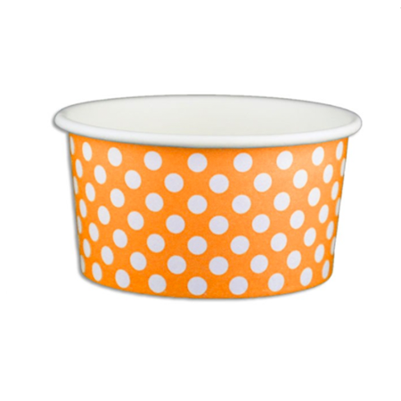 6 OZ. PAPER YOGURT CUPS, POLKA DOT ORANGE - 1,000 PCS/CS