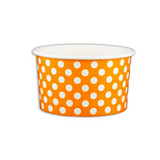 5 OZ. PAPER YOGURT CUPS, POLKA DOT ORANGE - 1,000 PCS/CS - (Item: 20563)