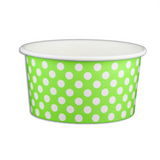 6 OZ. PAPER YOGURT CUPS, POLKA DOT LIME GREEN - 1,000 PCS/CS