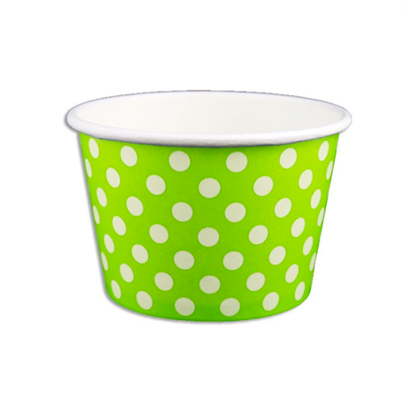 8 OZ. PAPER YOGURT CUPS, POLKA DOT LIME GREEN - 1,000 PCS/CS - (Item: 20862)