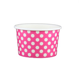 4 OZ. PAPER YOGURT CUPS, POLKA DOT PINK - 1,000 PCS/CS - (Item: 20464)