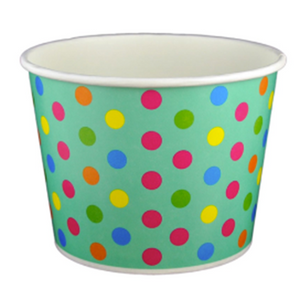 32 OZ. PAPER YOGURT CUPS, POLKA DOT AQUA RAINBOW - 600 PCS/CS - (Item: 23268) - CarryOut Supplies