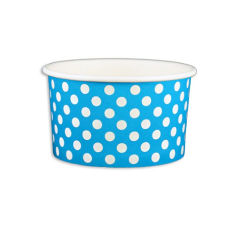5 OZ. PAPER YOGURT CUPS, POLKA DOT BLUE - 1,000 PCS/CS - (Item: 20561)