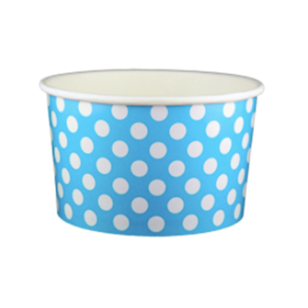 20 OZ. PAPER YOGURT CUPS, POLKA DOT BLUE - 600 PCS/CS