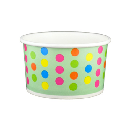 5 OZ. PAPER YOGURT CUPS, POLKA DOT AQUA RAINBOW - 1,000 PCS/CS - (Item: 20569)