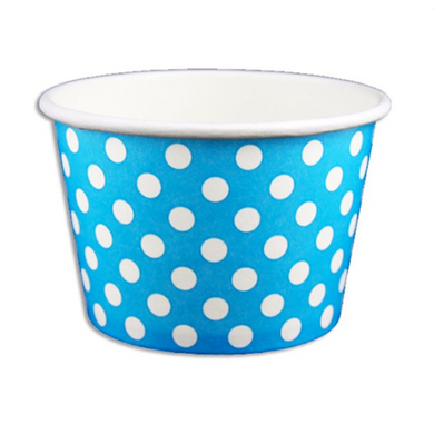 08 OZ. PAPER YOGURT CUPS, POLKA DOT BLUE - 1,000 PCS/CS - (Item: 20861) - CarryOut Supplies