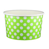 20 OZ. PAPER YOGURT CUPS, POLKA DOT LIME GREEN - 600 PCS/CS - (Item: 22062) - CarryOut Supplies