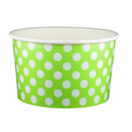 20 OZ. PAPER YOGURT CUPS, POLKA DOT LIME GREEN - 600 PCS/CS
