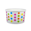 4 OZ. PAPER YOGURT CUPS, POLKA DOT RAINBOW - 1,000 PCS/CS - (Item: 20470) - CarryOut Supplies