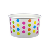 4 OZ. PAPER YOGURT CUPS, POLKA DOT RAINBOW - 1,000 PCS/CS - (Item: 20470)