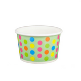 4 OZ. PAPER YOGURT CUPS, POLKA DOT AQUA RAINBOW - 1,000 PCS/CS - (Item: 20469)