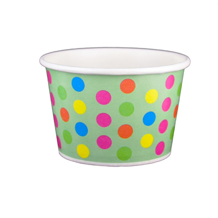 8 OZ. PAPER YOGURT CUPS, POLKA DOT AQUA RAINBOW - 1,000 PCS/CS
