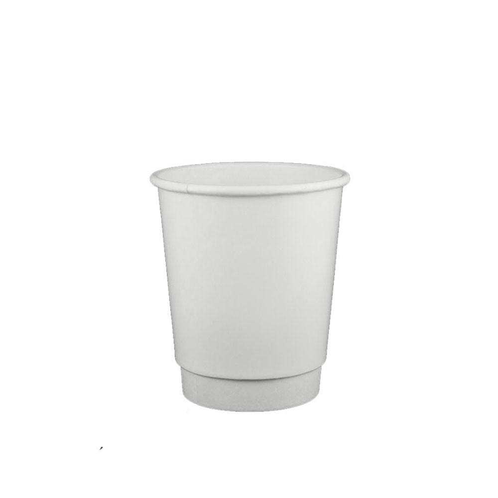 08 OZ PAPER DOUBLE-WALL HOT CUPS, WHITE - 500/CS - (item code: 3608DW) - CarryOut Supplies