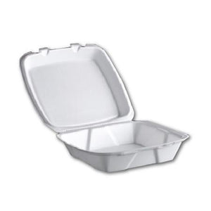 "8""X8"" SQUARE CONTAINER WITH HINGED LIDS 1-COMPT - 200 / CS - (Item: 5581) - CarryOut Supplies"