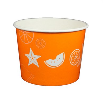 16 OZ. PAPER YOGURT CUPS, FRUIT PATTERN ORANGE - 1,000 PCS/CS - (Item: 23827) - CarryOut Supplies