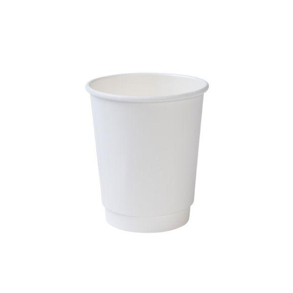 8 OZ. INSULATED DOUBLE WALL HOT COFFEE CUPS - 500 PCS/CS - WHITE - CarryOut Supplies