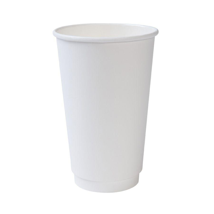 16 OZ. INSULATED DOUBLE WALL HOT COFFEE CUPS 500 PCS/CS - WHITE - (Item: 3616DW) - CarryOut Supplies