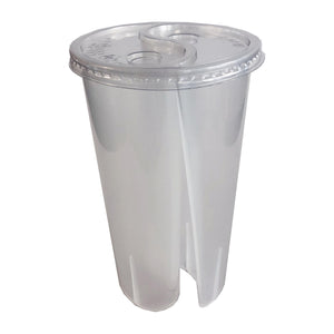 PET PLASTIC SPLIT TAI CHI CUP LIDS 95MM - 500PCS/CS - (ITEM: TCC-01A-LID) - CarryOut Supplies