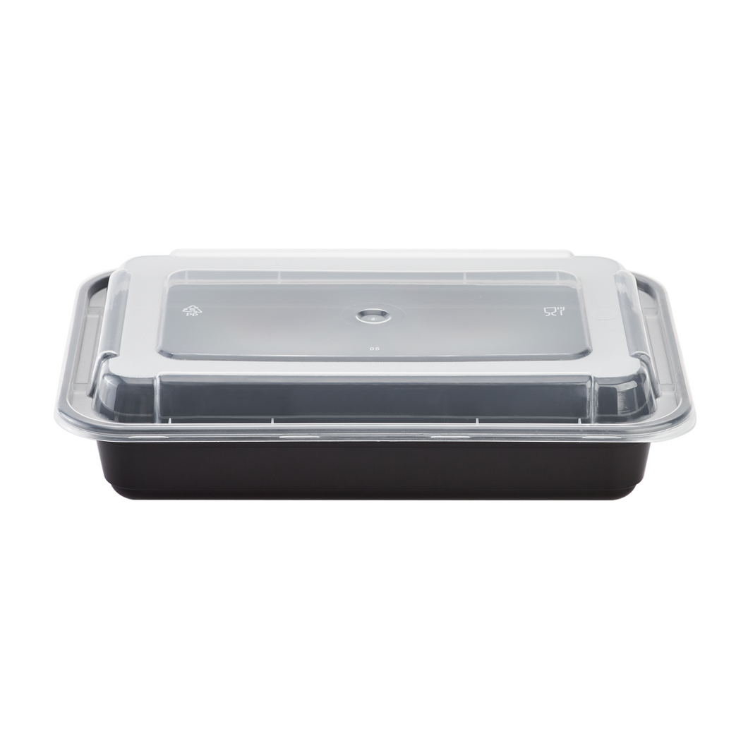 Microwavable Premium PP Black Rectangle Container - CarryOut Supplies
