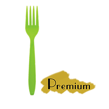 PREMIUM HEAVY WEIGHT PLASTIC GREEN FORKS (6.6