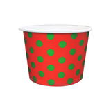16 OZ. PAPER YOGURT CUPS, POLKA CHRISTMAS RED & GREEN - 1,000 PCS/CS