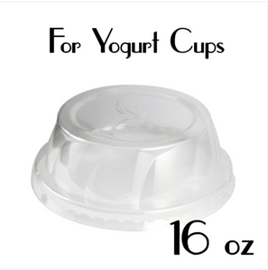 16 oz. PLASTIC DOME LIDS ( FLAT TOP ) | Yogurt Cup Lids | CARRYOUTSUPPLIES.COM - CarryOut Supplies