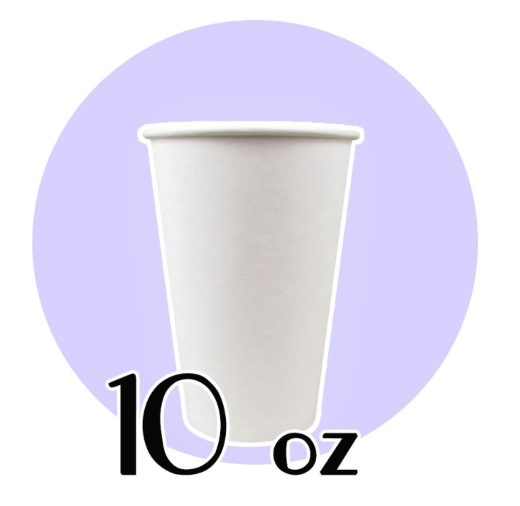 10 OZ. PAPER HOT CUPS, WHITE - 1,000 PCS/CS - CarryOut Supplies