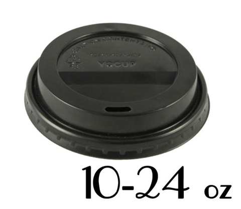 10 - 24 OZ. PLASTIC SIPPER LIDS FOR PAPER HOT CUPS, BLACK - 1,000 PCS/CS