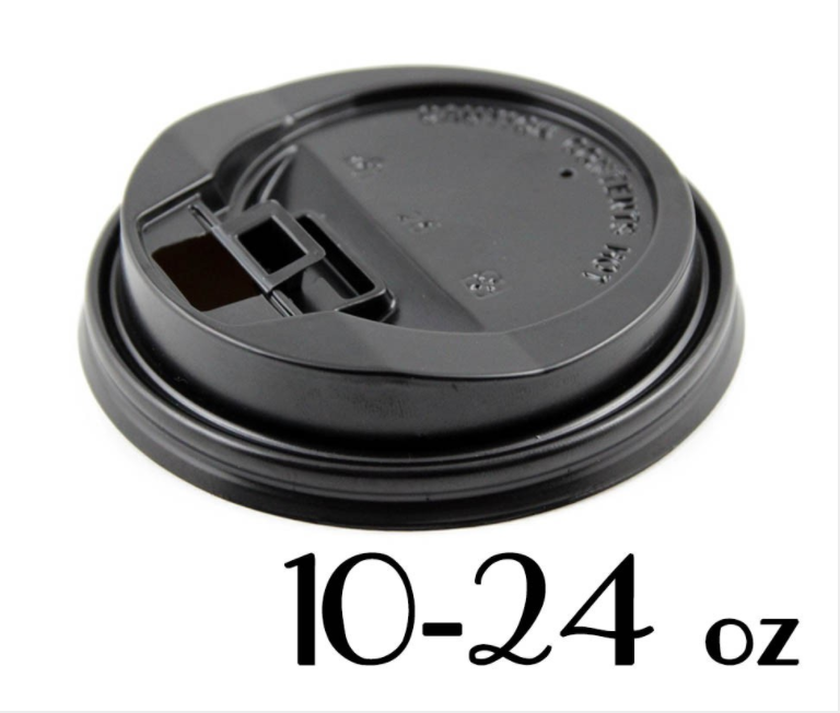 10 - 24 OZ. PLASTIC LOCK-BACK SIPPER LIDS FOR PAPER HOT CUPS, BLACK - 1,000 PCS/CS (ITEM# 3681) - CarryOut Supplies
