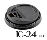 10 - 24 OZ. PLASTIC LOCK-BACK SIPPER LIDS FOR PAPER HOT CUPS, BLACK - 1,000 PCS/CS