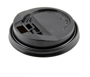 10-24oz - 90 mm PLASTIC LOCK-BACK SIPPER LIDS FOR PAPER HOT CUPS, Black - 1,000 PCS/CS (Item: PPP-ID-90BLACK) - CarryOut Supplies