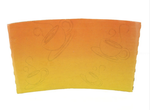 10 - 24 OZ. PAPER HOT CUP SLEEVE, ORANGE INK - 1,000 PCS/CS