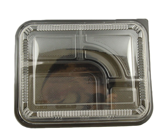 5-COMP BLACK - BENTO/SUSHI BOX W/ CLEAR LID - 200 SETS / CS - (item code: 541-306) - CarryOut Supplies