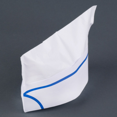 DISPOSABLE PAPER OVERSEA CAPS, BLUE STRIPE - 100 PCS/CS - CarryOut Supplies